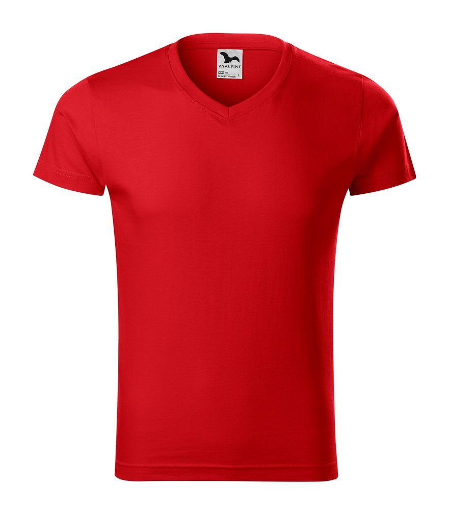 Produkt - Triko slim fit V-Neck pánské červená L
